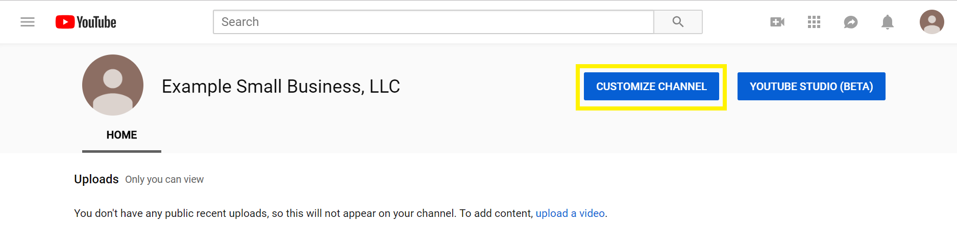 click customize channel
