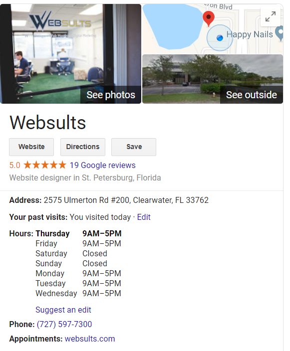 Google Business Listing for Websults