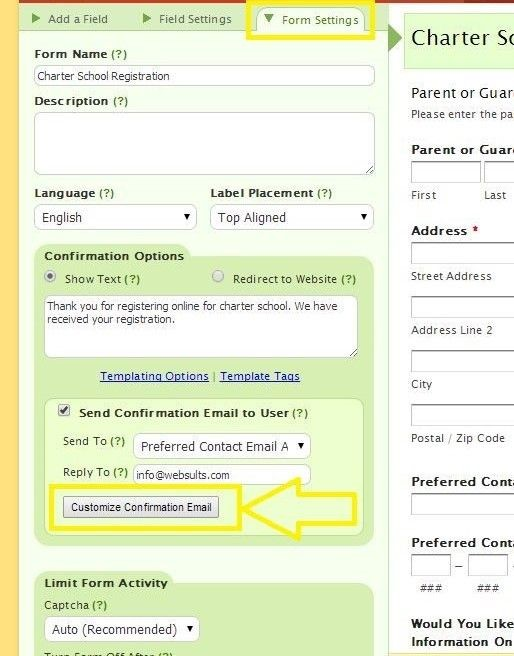 click form settings